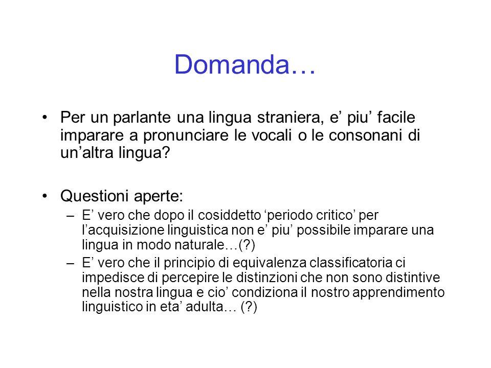 Domanda… Per un parlante una lingua straniera, e' piu' facile imparare a pronunciare le vocali o le consonani di un'altra lingua
