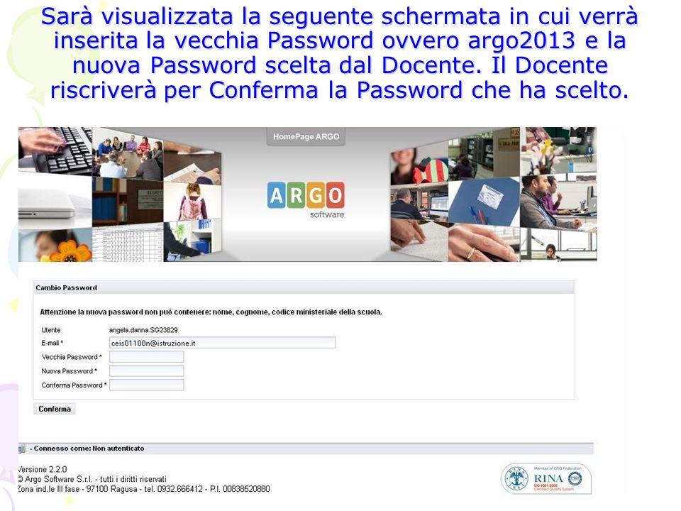 Sarà visualizzata la seguente schermata in cui verrà inserita la vecchia Password ovvero argo2013 e la nuova Password scelta dal Docente.