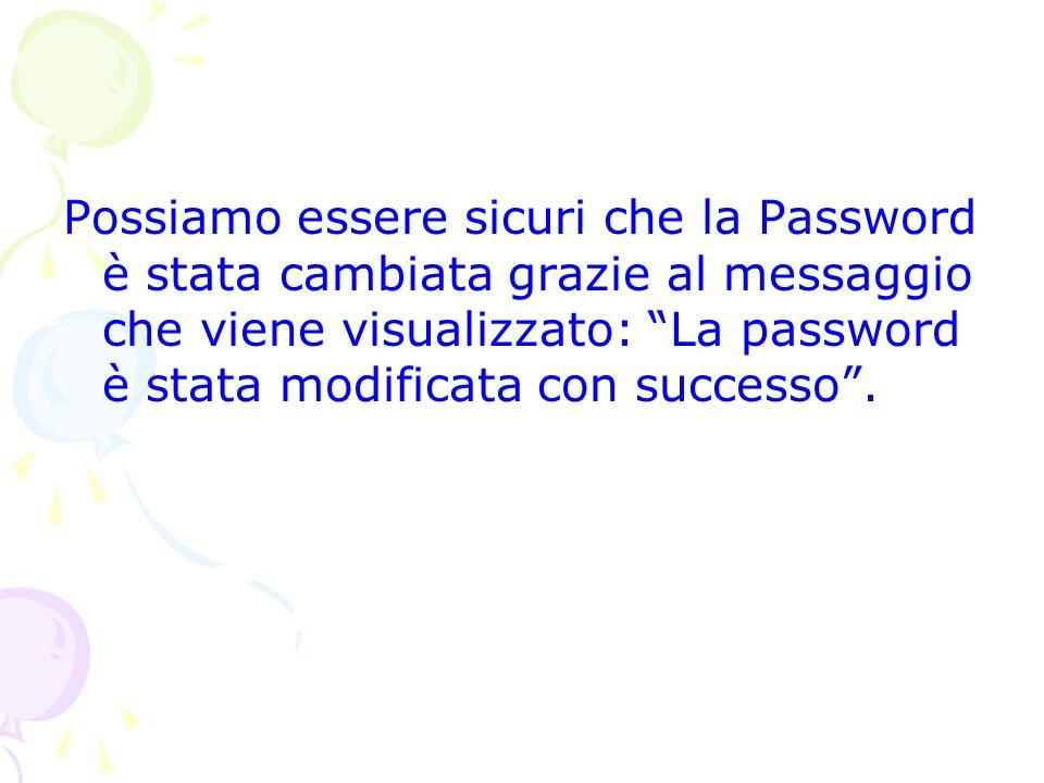 Possiamo essere sicuri che la Password è stata cambiata grazie al messaggio che viene visualizzato: La password è stata modificata con successo .