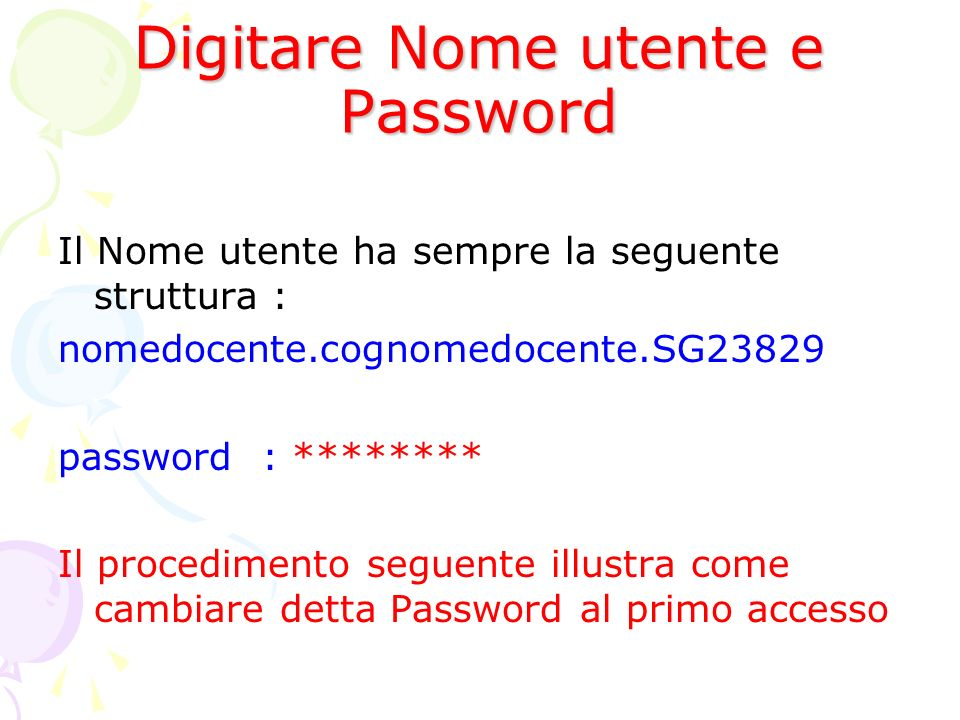 Digitare Nome utente e Password