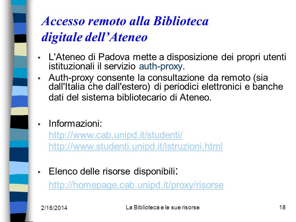 Accesso remoto alla Biblioteca digitale dell'Ateneo