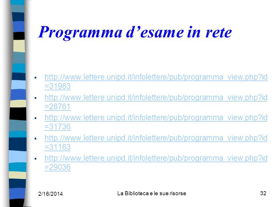 Programma d'esame in rete