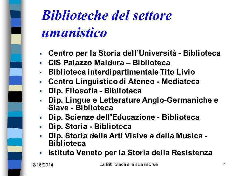 Biblioteche del settore umanistico