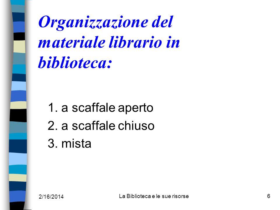 Organizzazione del materiale librario in biblioteca: