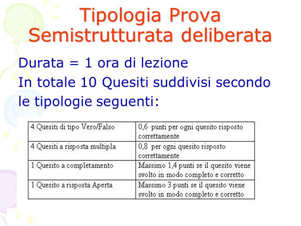 Tipologia Prova Semistrutturata deliberata