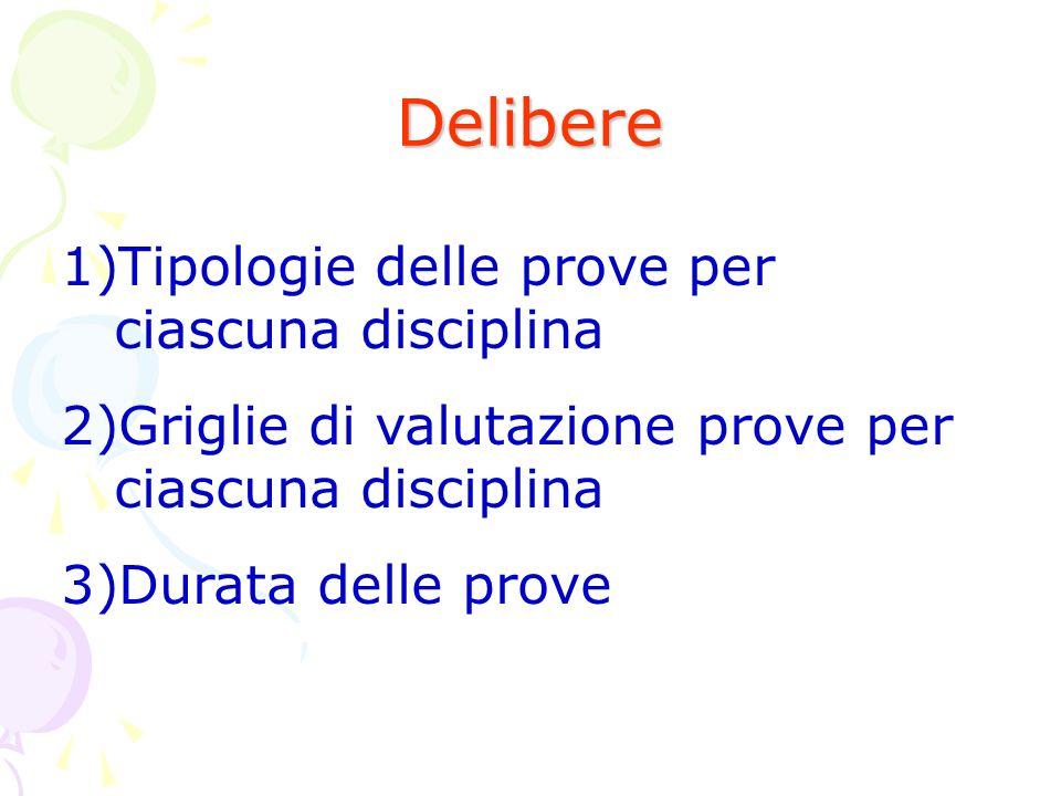 Delibere Tipologie delle prove per ciascuna disciplina