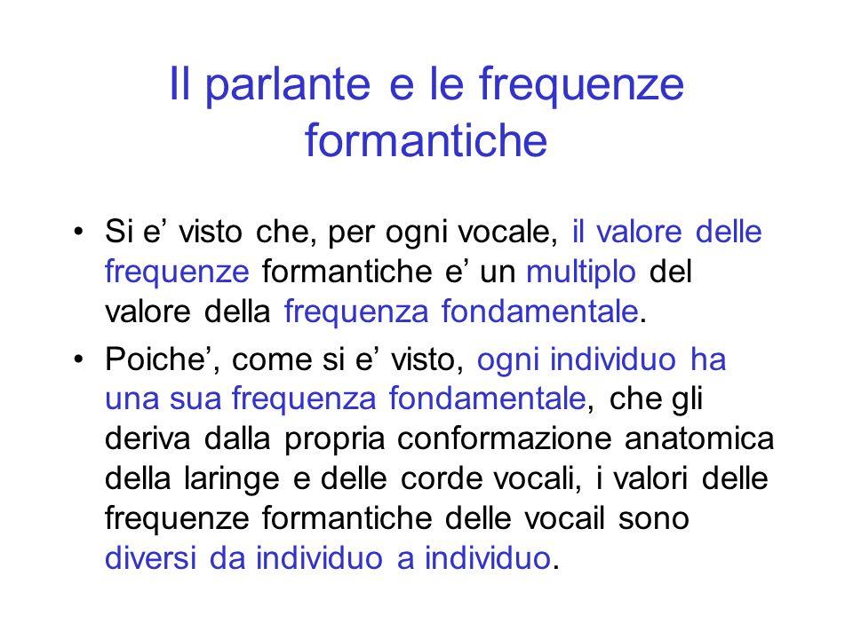 Il parlante e le frequenze formantiche