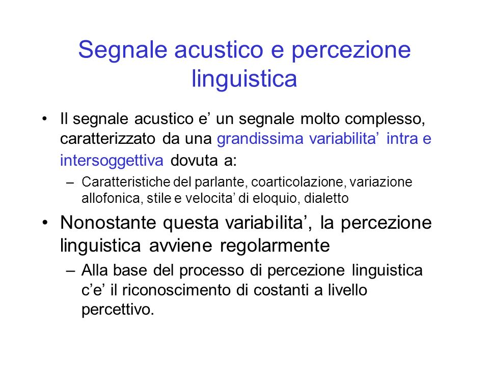 Segnale acustico e percezione linguistica