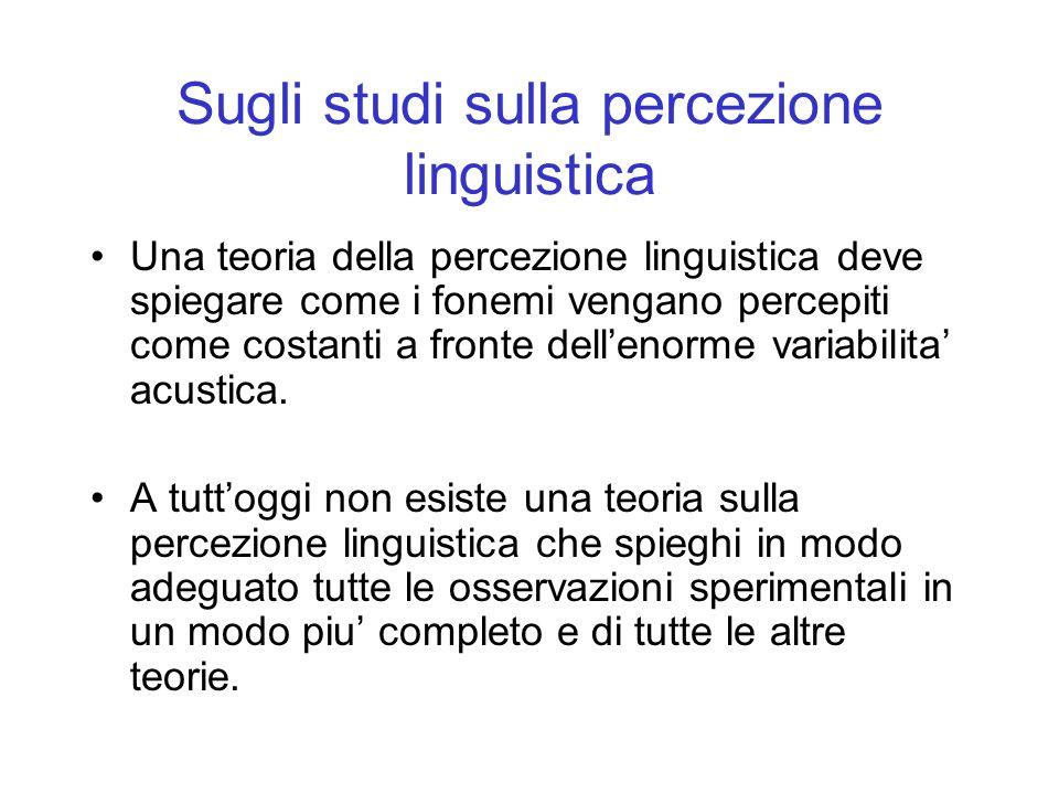 Sugli studi sulla percezione linguistica
