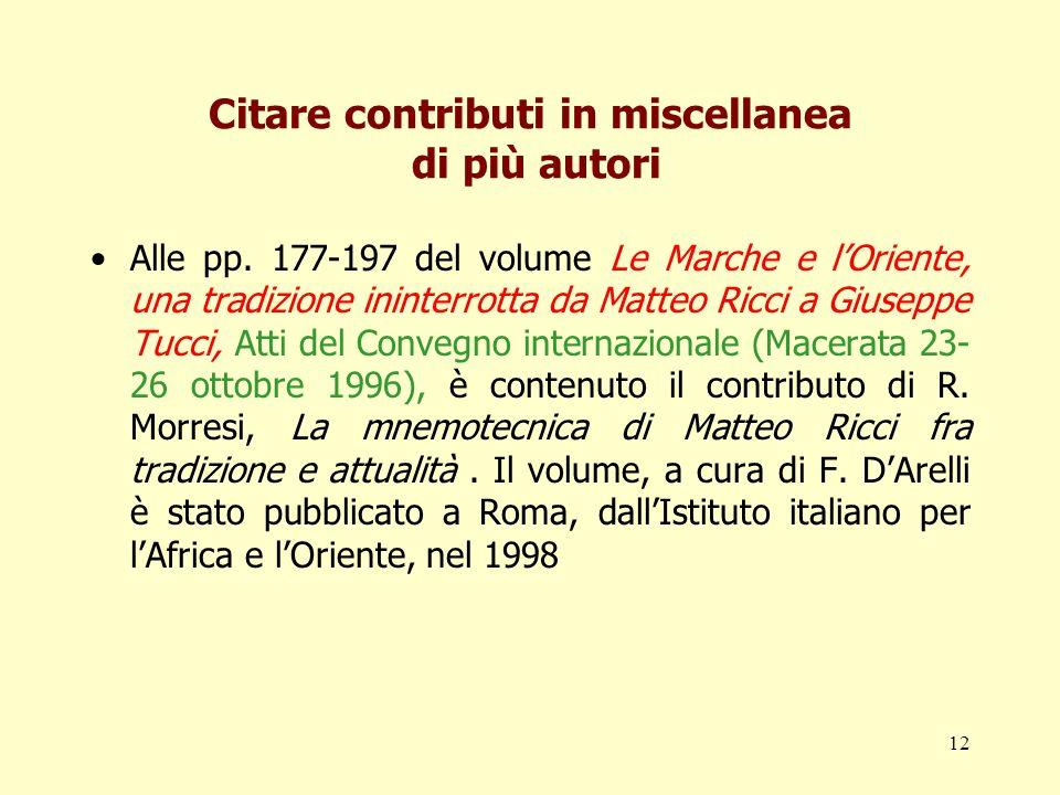Citare contributi in miscellanea di più autori