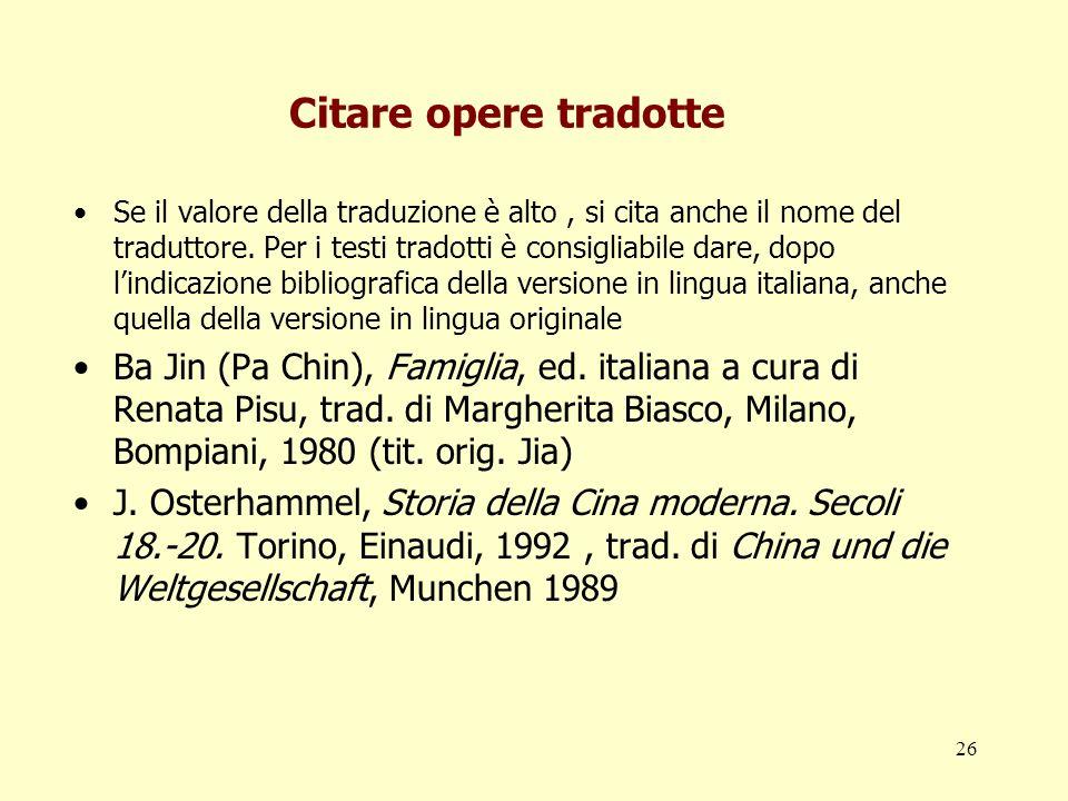 Citare opere tradotte