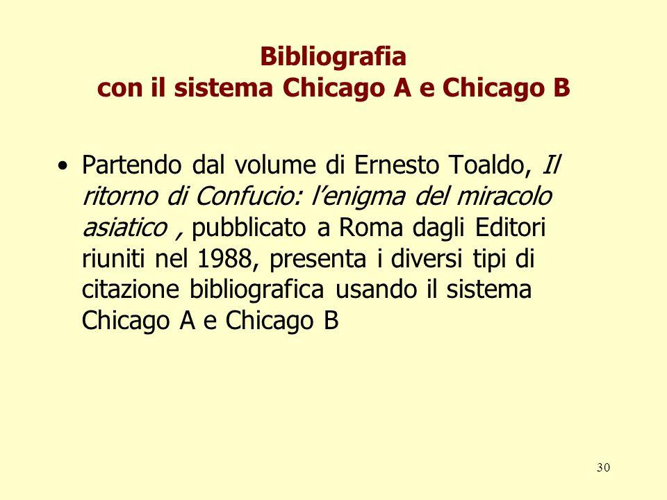 Bibliografia con il sistema Chicago A e Chicago B