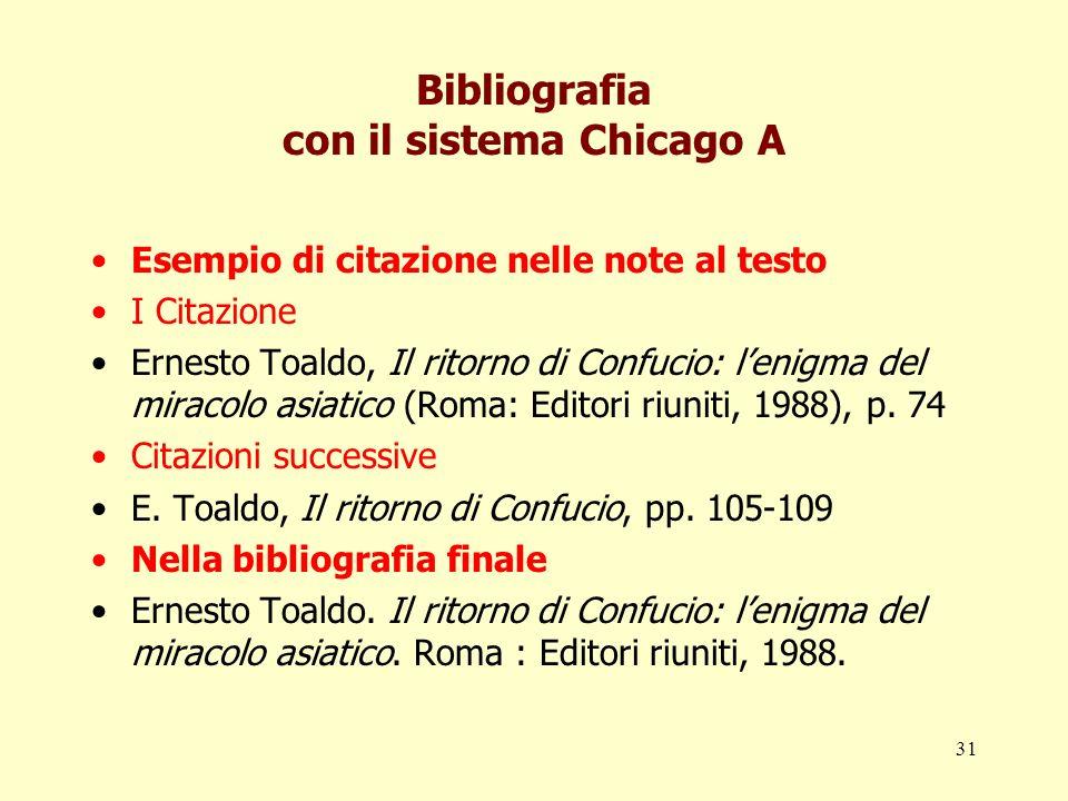Bibliografia con il sistema Chicago A