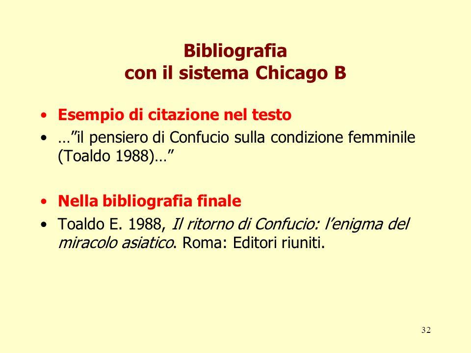 Bibliografia con il sistema Chicago B