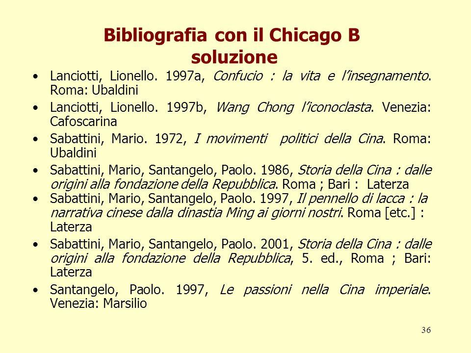 Bibliografia con il Chicago B soluzione