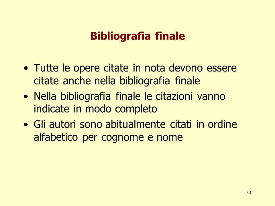 Bibliografia finale Tutte le opere citate in nota devono essere citate anche nella bibliografia finale.