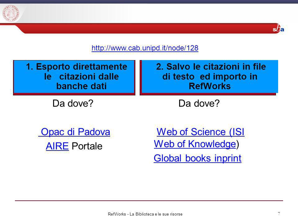 Da dove Web of Science (ISI Web of Knowledge) Global books inprint
