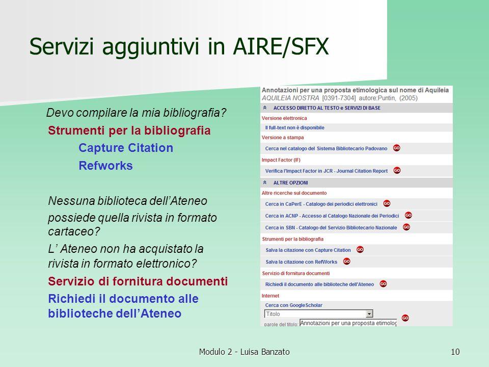 Servizi aggiuntivi in AIRE/SFX
