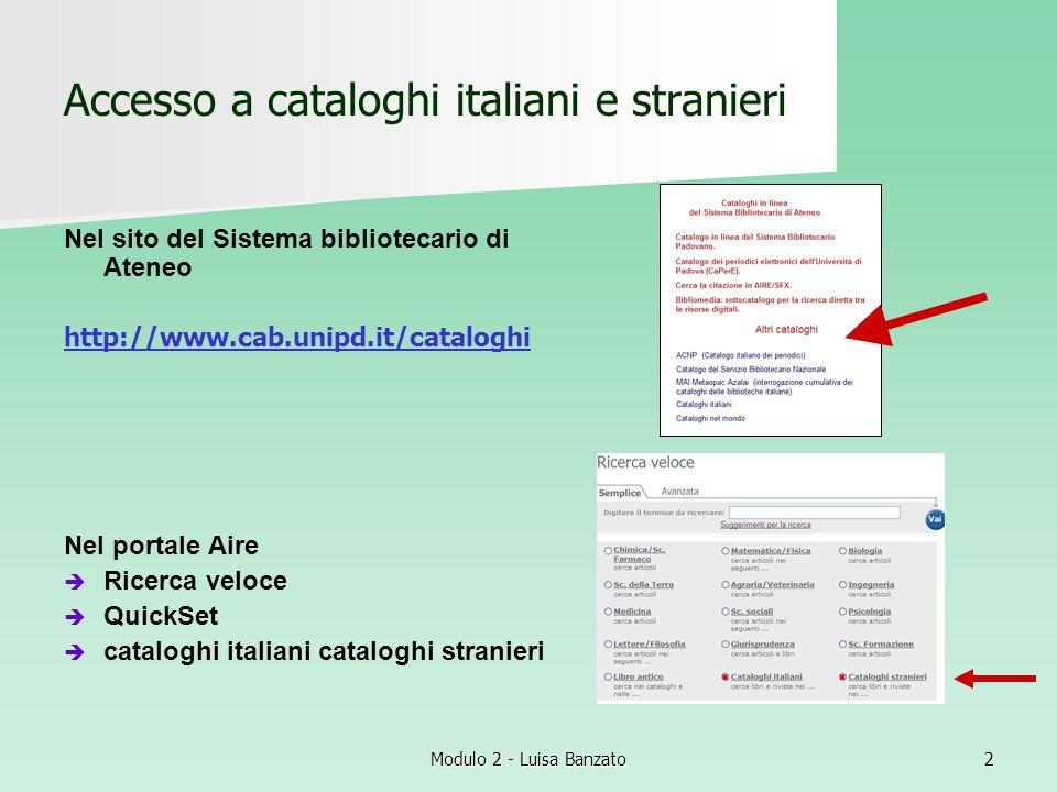 Accesso a cataloghi italiani e stranieri