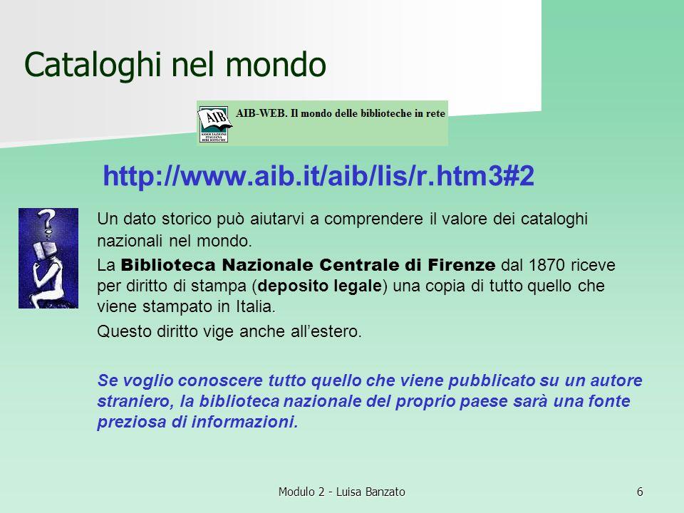 Cataloghi nel mondo http://www.aib.it/aib/lis/r.htm3#2