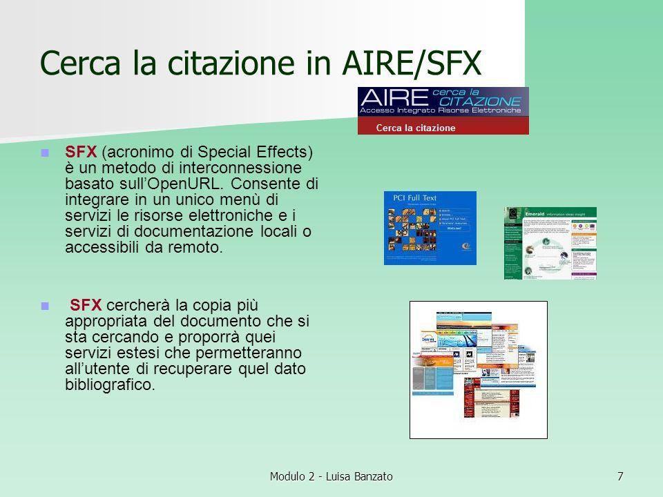 Cerca la citazione in AIRE/SFX