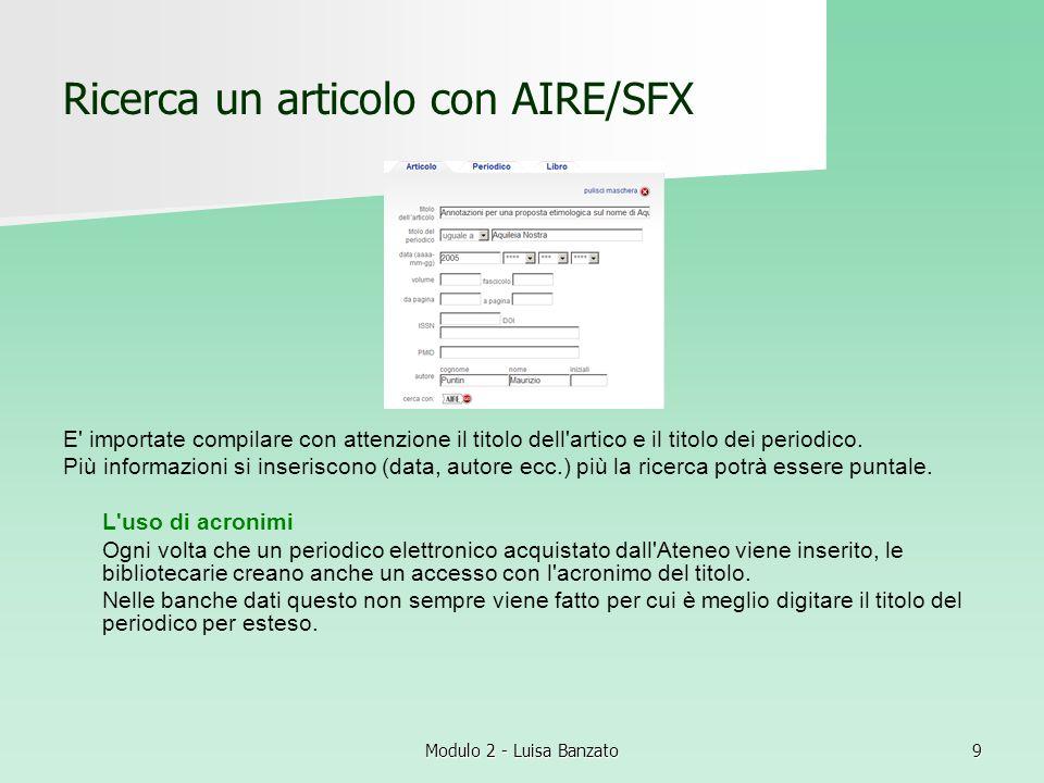 Ricerca un articolo con AIRE/SFX