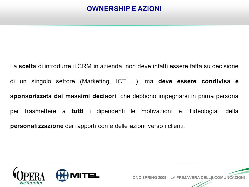 OWNERSHIP E AZIONI