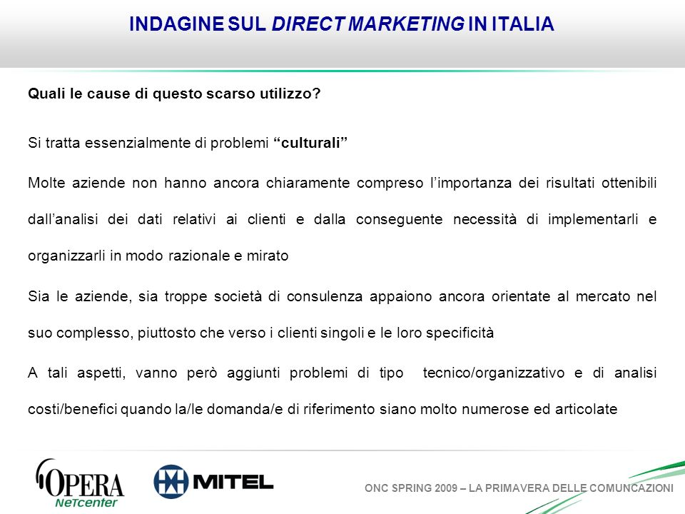 INDAGINE SUL DIRECT MARKETING IN ITALIA