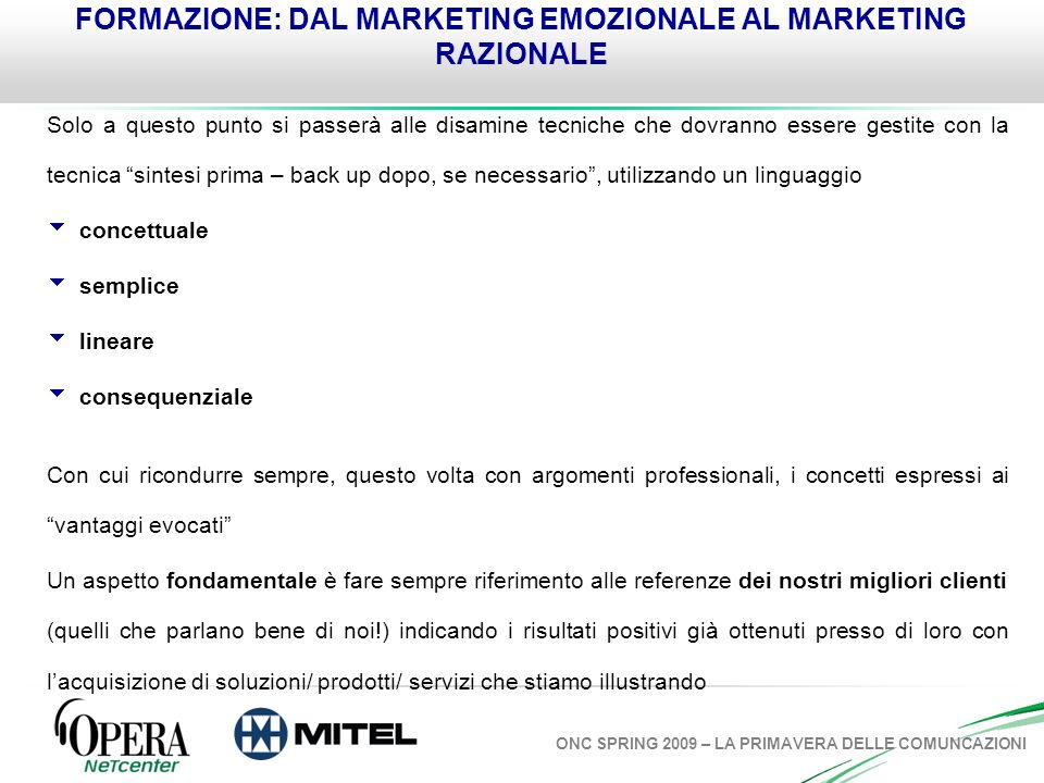 FORMAZIONE: DAL MARKETING EMOZIONALE AL MARKETING RAZIONALE