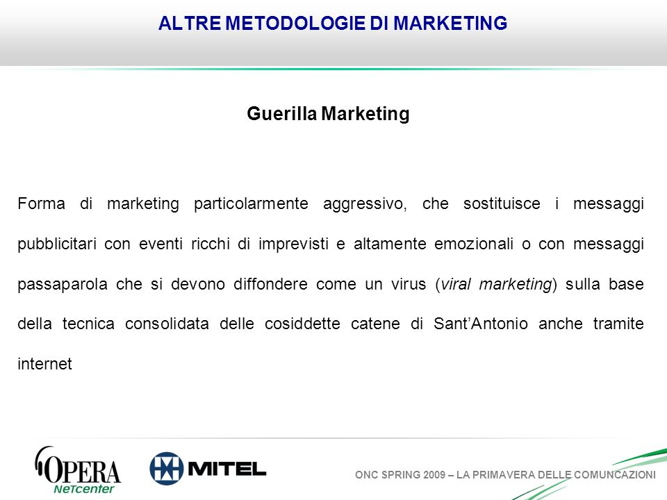 ALTRE METODOLOGIE DI MARKETING