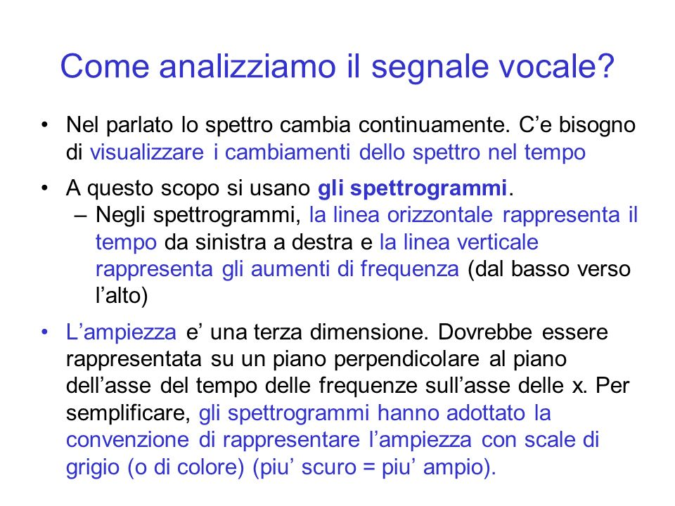 Come analizziamo il segnale vocale