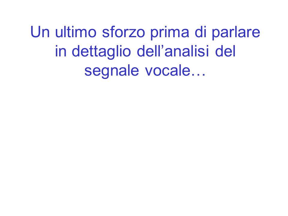 Un ultimo sforzo prima di parlare in dettaglio dell'analisi del segnale vocale…