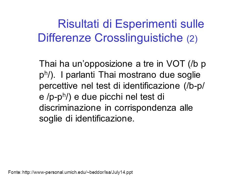 Risultati di Esperimenti sulle Differenze Crosslinguistiche (2)