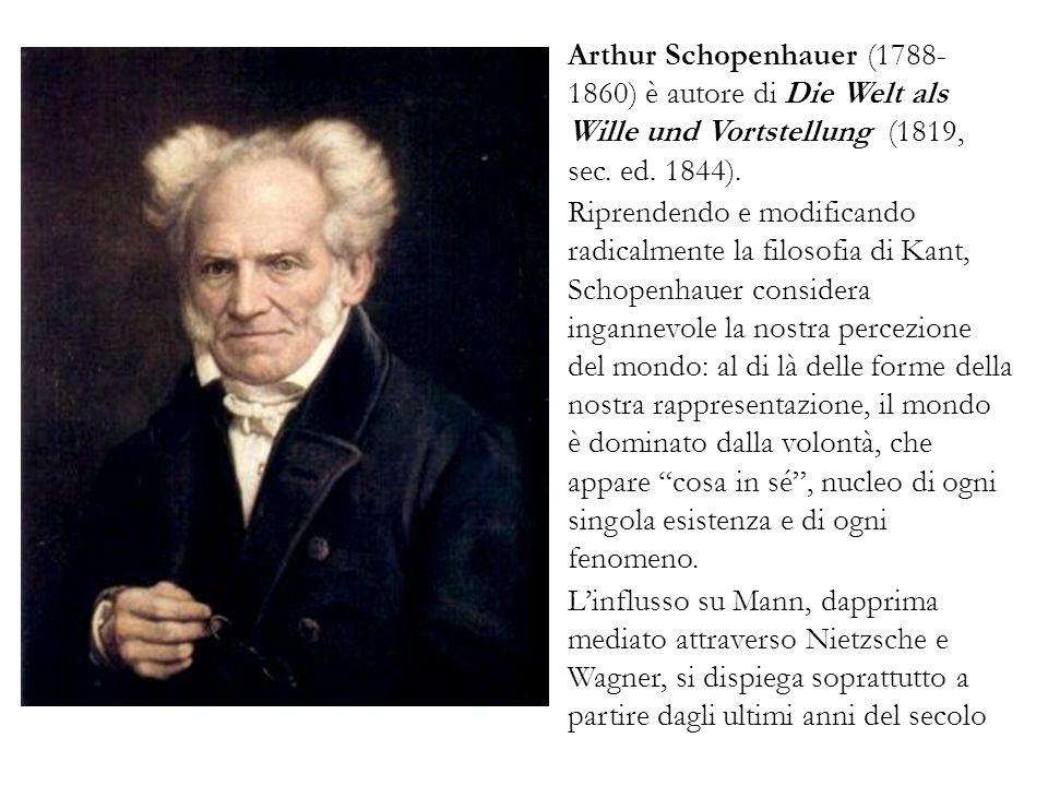 Arthur Schopenhauer (1788-1860) è autore di Die Welt als Wille und Vortstellung (1819, sec. ed. 1844).
