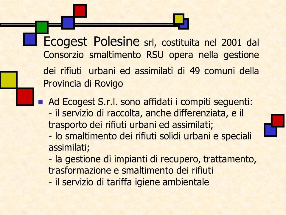 Ecogest Polesine srl, costituita nel 2001 dal Consorzio smaltimento RSU opera nella gestione dei rifiuti urbani ed assimilati di 49 comuni della Provincia di Rovigo