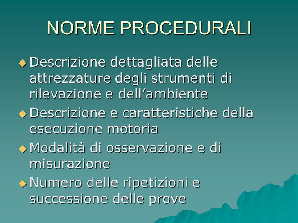 NORME PROCEDURALI Descrizione dettagliata delle attrezzature degli strumenti di rilevazione e dell'ambiente.