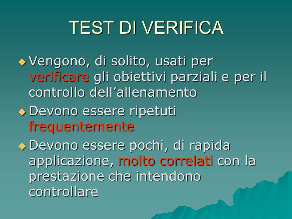 TEST DI VERIFICA Vengono, di solito, usati per verificare gli obiettivi parziali e per il controllo dell'allenamento.