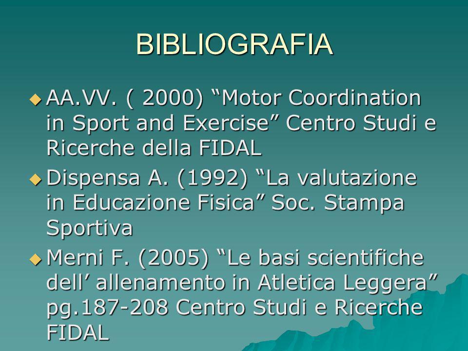 BIBLIOGRAFIA AA.VV. ( 2000) Motor Coordination in Sport and Exercise Centro Studi e Ricerche della FIDAL.