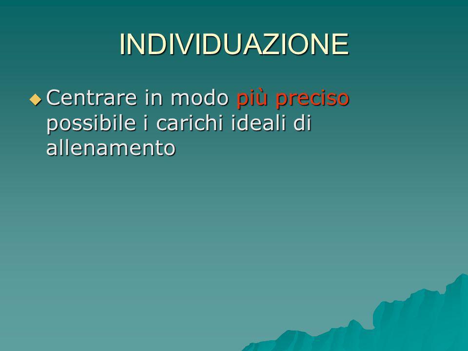 INDIVIDUAZIONE Centrare in modo più preciso possibile i carichi ideali di allenamento