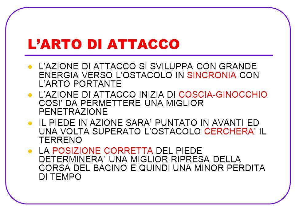 L'ARTO DI ATTACCOL'AZIONE DI ATTACCO SI SVILUPPA CON GRANDE ENERGIA VERSO L'OSTACOLO IN SINCRONIA CON L'ARTO PORTANTE.