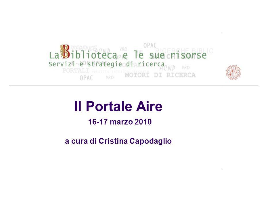 Il Portale Aire 16-17 marzo 2010 a cura di Cristina Capodaglio