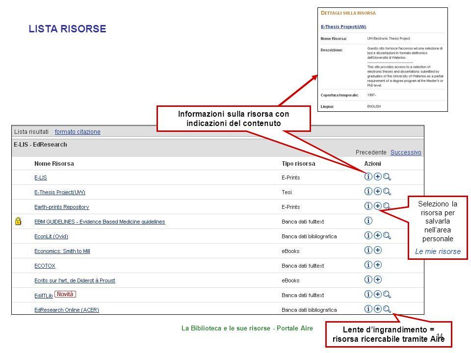 LISTA RISORSE Informazioni sulla risorsa con indicazioni del contenuto