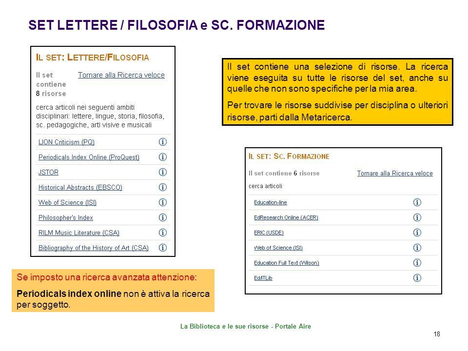 SET LETTERE / FILOSOFIA e SC. FORMAZIONE