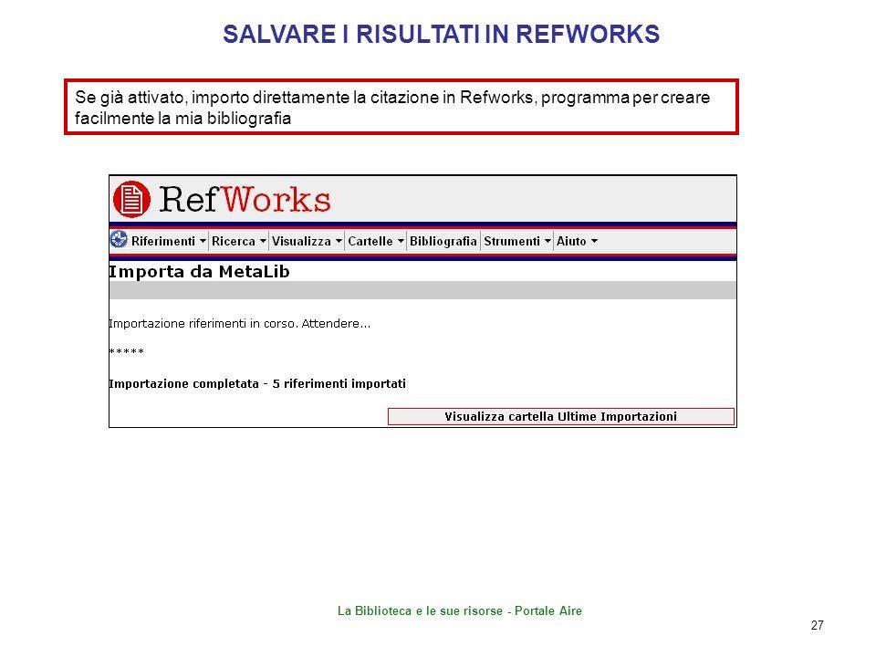 SALVARE I RISULTATI IN REFWORKS