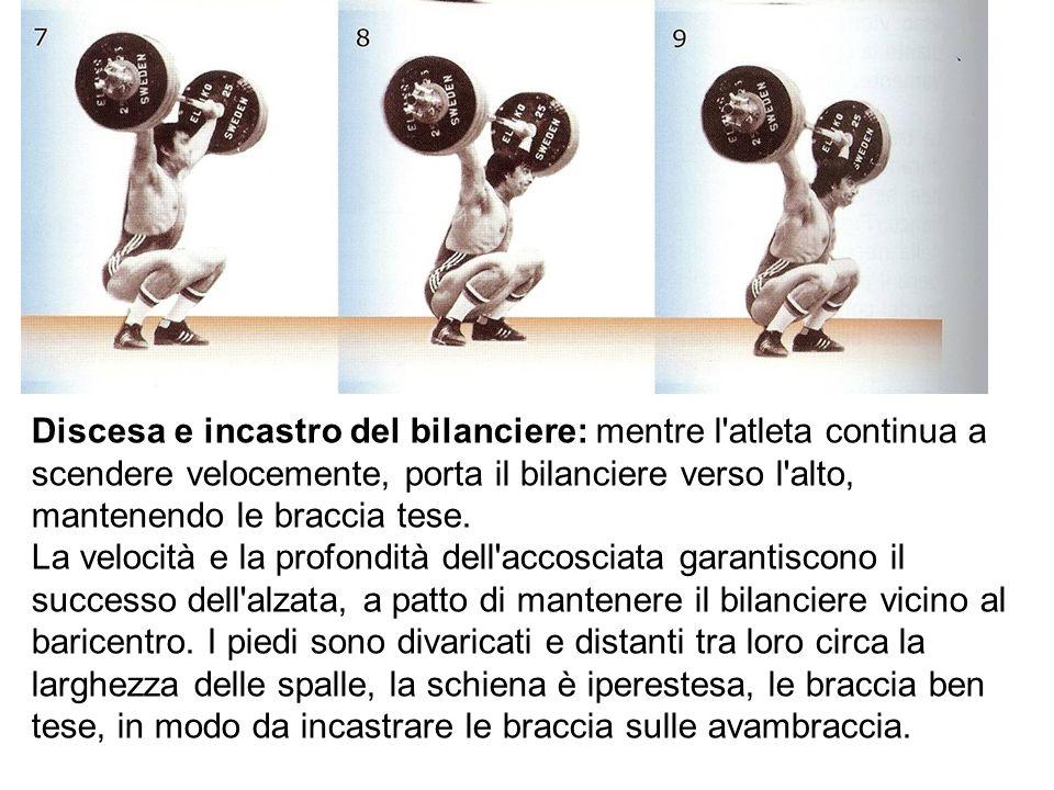 Discesa e incastro del bilanciere: mentre l atleta continua a scendere velocemente, porta il bilanciere verso l alto, mantenendo le braccia tese.