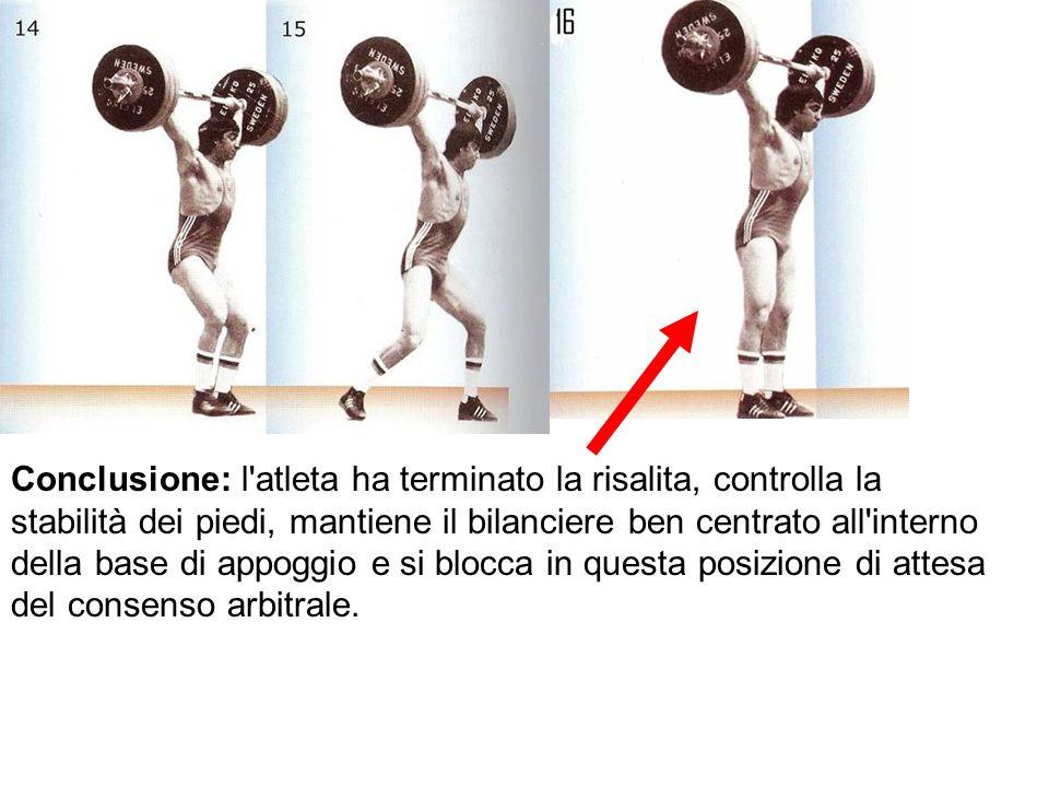 Conclusione: l atleta ha terminato la risalita, controlla la stabilità dei piedi, mantiene il bilanciere ben centrato all interno della base di appoggio e si blocca in questa posizione di attesa del consenso arbitrale.