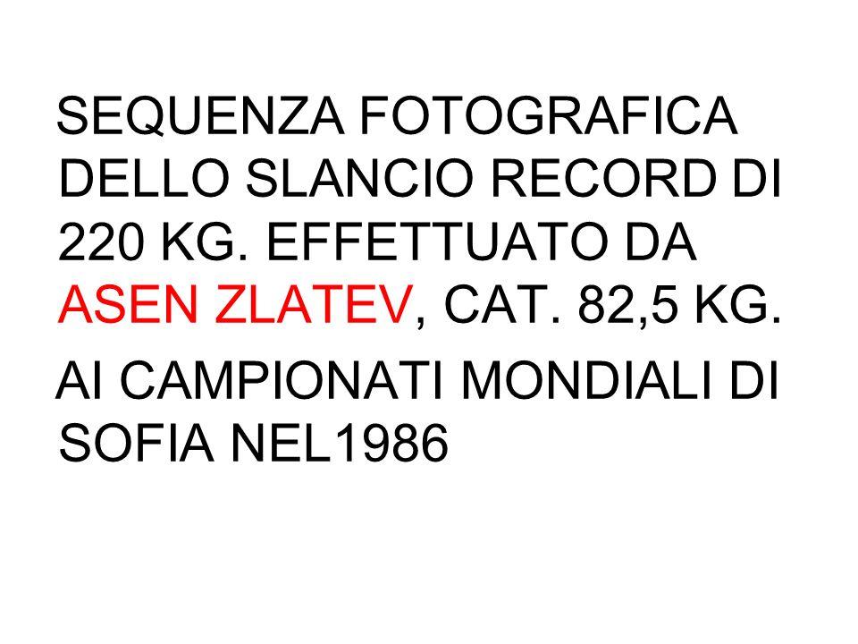 SEQUENZA FOTOGRAFICA DELLO SLANCIO RECORD DI 220 KG