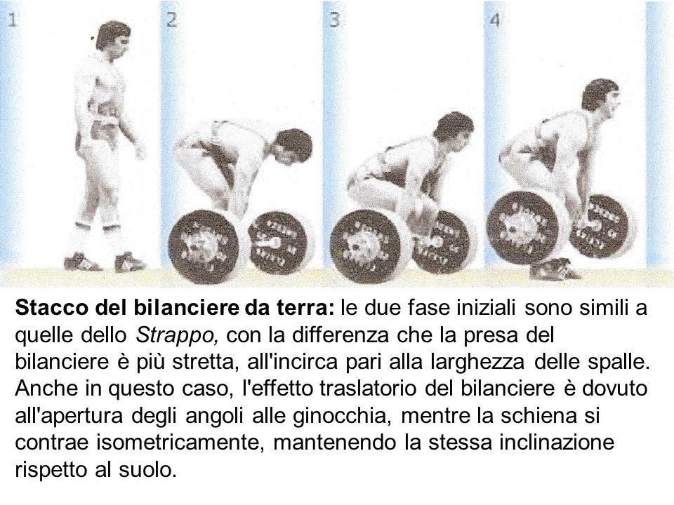 Stacco del bilanciere da terra: le due fase iniziali sono simili a quelle dello Strappo, con la differenza che la presa del bilanciere è più stretta, all incirca pari alla larghezza delle spalle.
