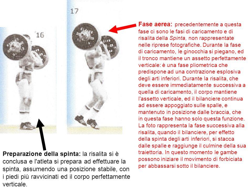 Fase aerea: precedentemente a questa fase ci sono le fasi di caricamento e di risalita della Spinta, non rappresentate nelle riprese fotografiche. Durante la fase di caricamento, le ginocchia si piegano, ed il tronco mantiene un assetto perfettamente verticale: è una fase pliometrica che predispone ad una contrazione esplosiva degli arti inferiori. Durante la risalita, che deve essere immediatamente successiva a quella di caricamento, il corpo mantiene l assetto verticale, ed il bilanciere continua ad essere appoggiato sulle spalle, e mantenuto in posizione dalle braccia, che in questa fase hanno solo questa funzione. La foto rappresenta la fase successiva alla risalita, quando il bilanciere, per effetto della spinta degli arti inferiori, si stacca dalle spalle e raggiunge il culmine della sua traiettoria. In questo momento le gambe possono iniziare il movimento di forbiciata per abbassarsi sotto il bilanciere.