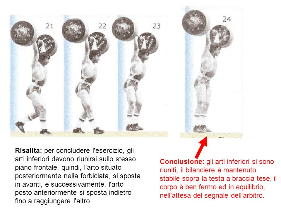 Risalita: per concludere l esercizio, gli arti inferiori devono riunirsi sullo stesso piano frontale, quindi, l arto situato posteriormente nella forbiciata, si sposta in avanti, e successivamente, l arto posto anteriormente si sposta indietro fino a raggiungere l altro.